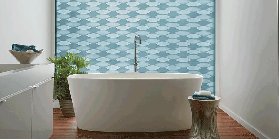blue bathroom design solutions roller shades Hunter Douglas Austin 78758