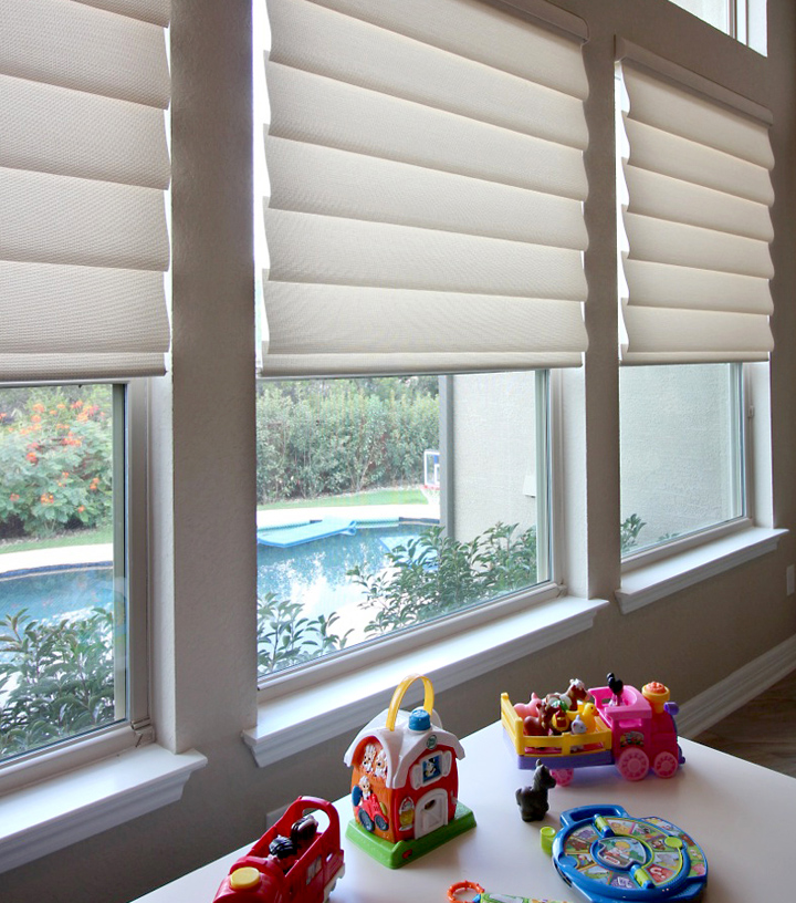 cordless blinds for child safety roman shades Hunter Douglas Austin 78758