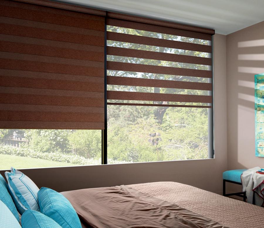 Hunter Douglas designer banded shades with room darkening blinds Austin TX