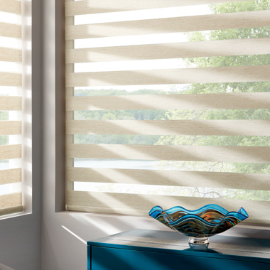 open position Hunter Douglas banded roller shades Austin TX