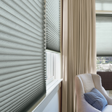 gray duette honeycomb shades in Austin TX