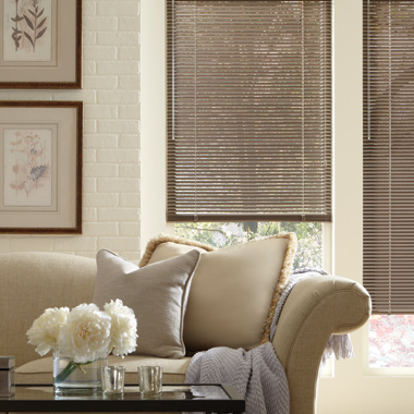 Hunter Douglas metal blinds in Austin TX living room