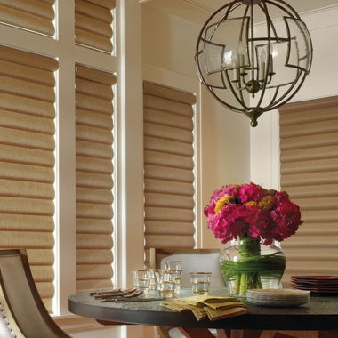dining room decorated gold fabric window shades from Hunter Douglas Travis County TX