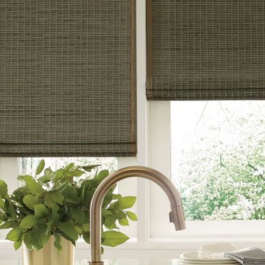 Hunter Douglas woven woods in kitchen Austin TX
