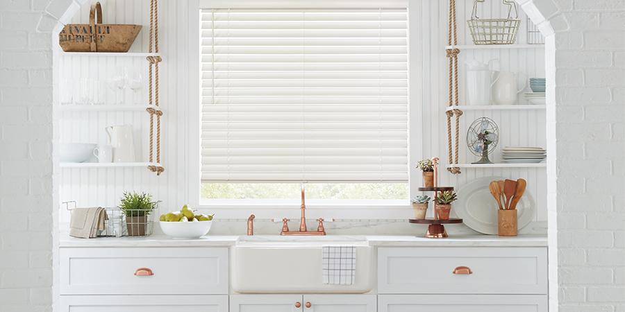 shades of white pirouette shades kitchen Hunter Douglas Austin 78758