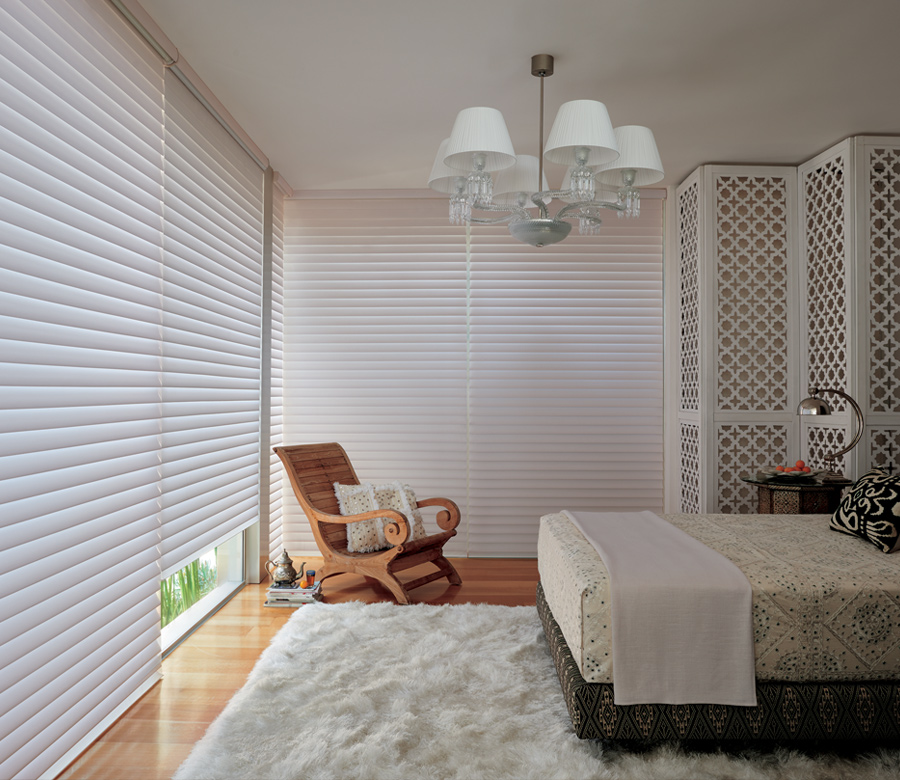 Hunter Douglas silhouette window shades bedroom with room darkening blinds Austin TX