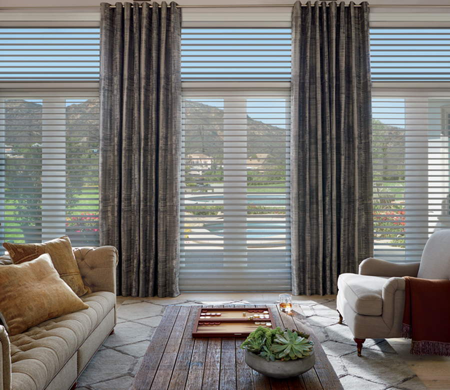 Hunter Douglas silhouette shades floor to ceiling blinds Austin TX