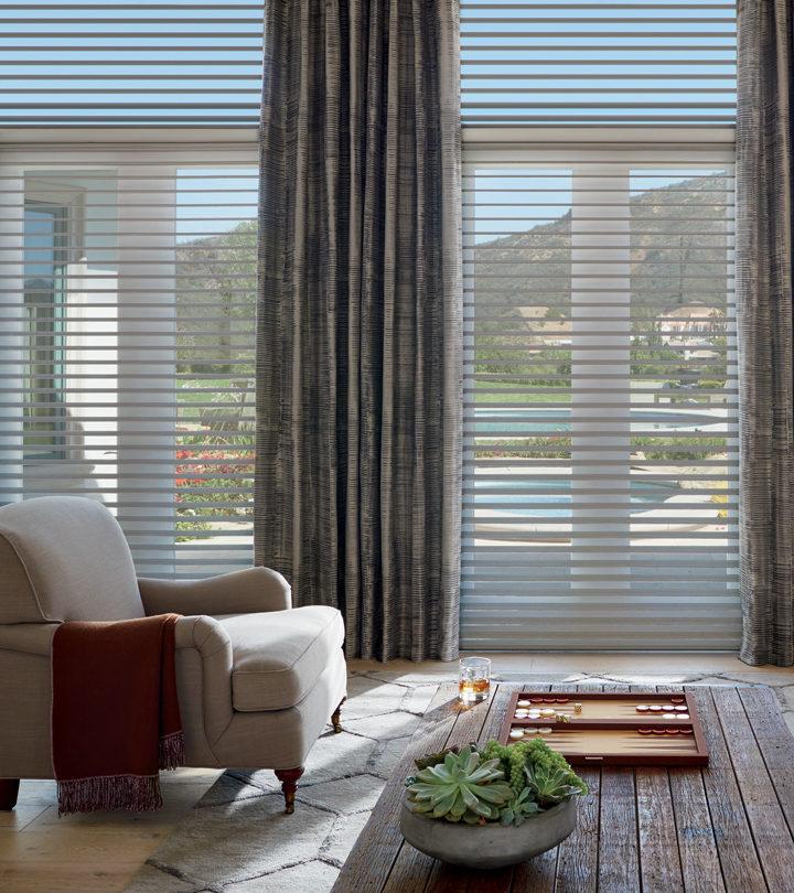 floor to ceiling window treatments for large windows Hunter Douglas Leander 78641