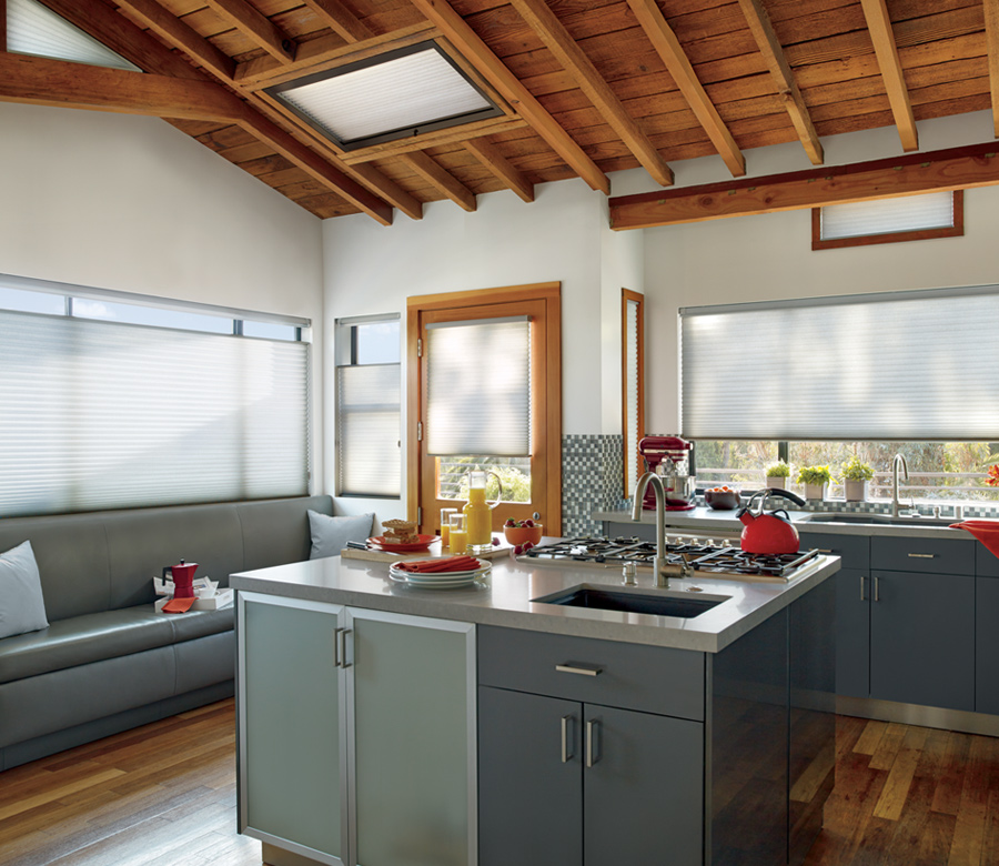 skylight shades and top down shades in Austin TX kitchen