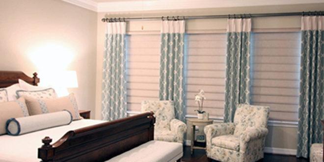 bedroom sanctuary design ideas roman shades turquoise drapes Hunter Douglas Austin 78758