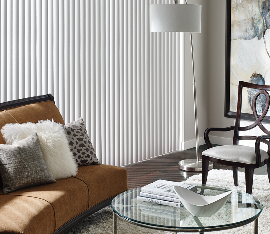 fabric vertical blinds living room slider Austin TX