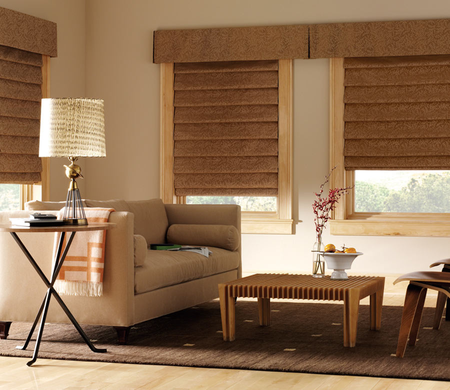 custom roman shades with matching top treatment Austin TX