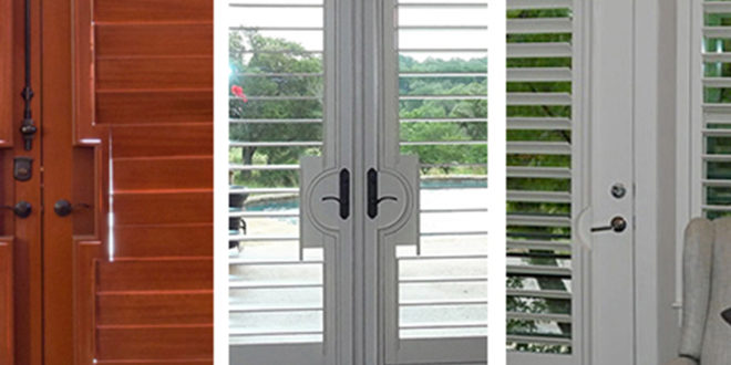 door handle cutout plantation shutters entry way Hunter Douglas Austin 78758
