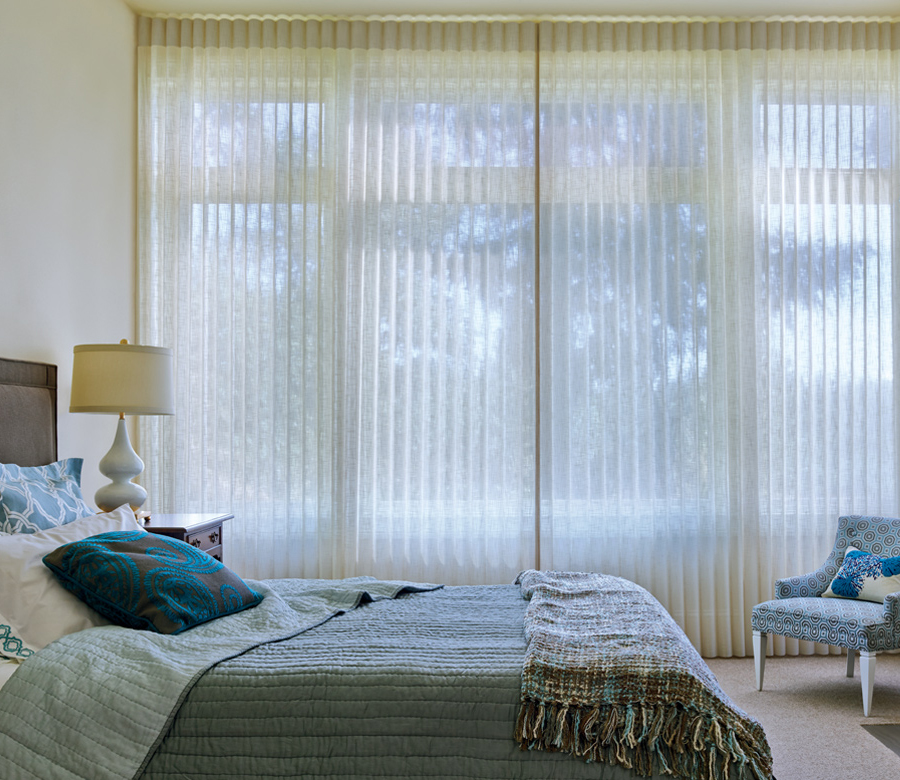 vertical shades for sliding glass doors in guest bedroom Austin TX