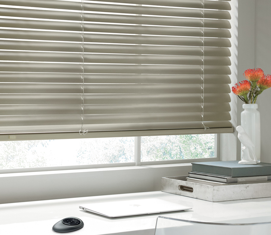 soft gold metal blinds motorized in Austin TX home