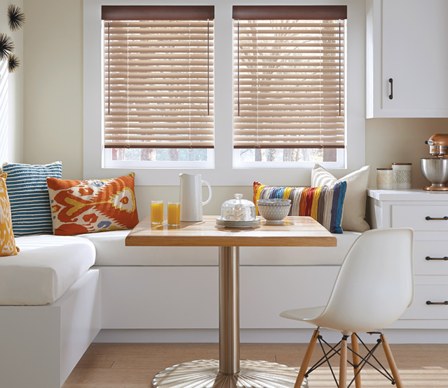 copper blinds kitchen seating area Austin TX