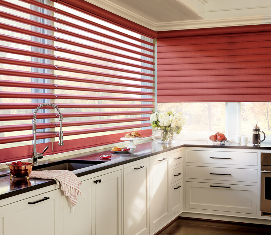 wall to wall windows in Austin TX home with red window shades