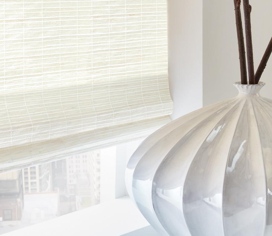 white woven wood shades roman shades Austin TX