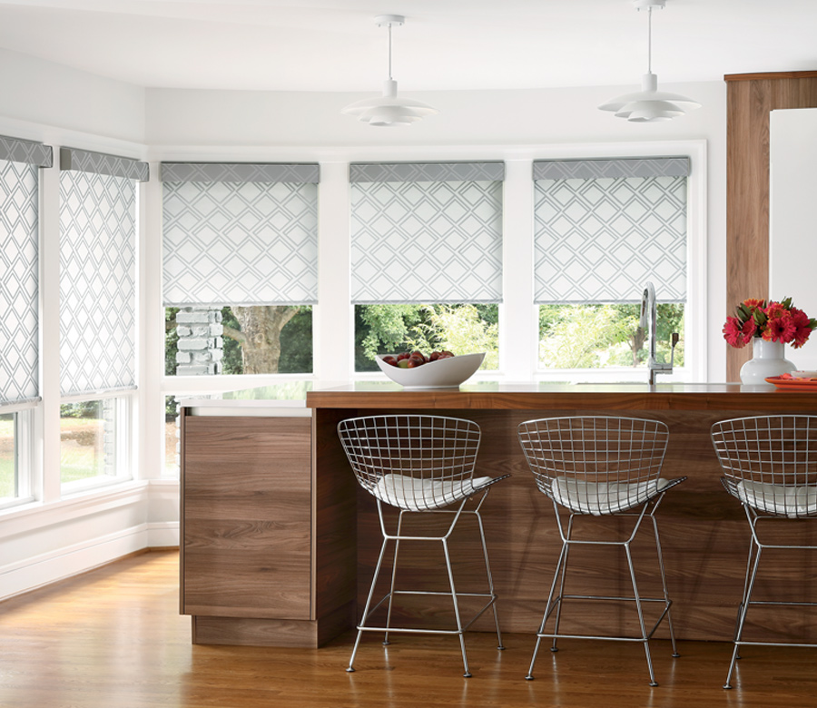 gray white trellis pattern roller shades in kitchen Austin TX