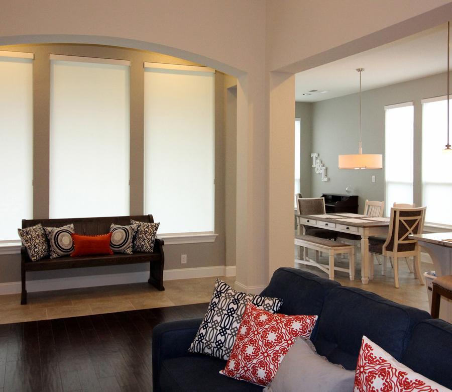 tall window roller shades living room Austin TX