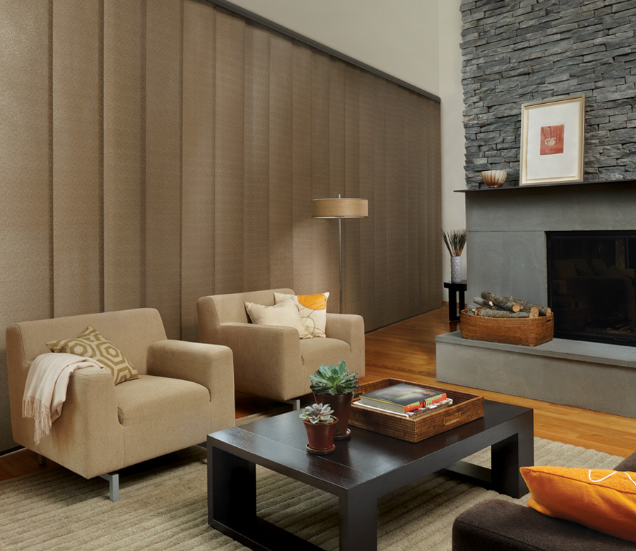 large living room window with sliding vertical panels Austin TX