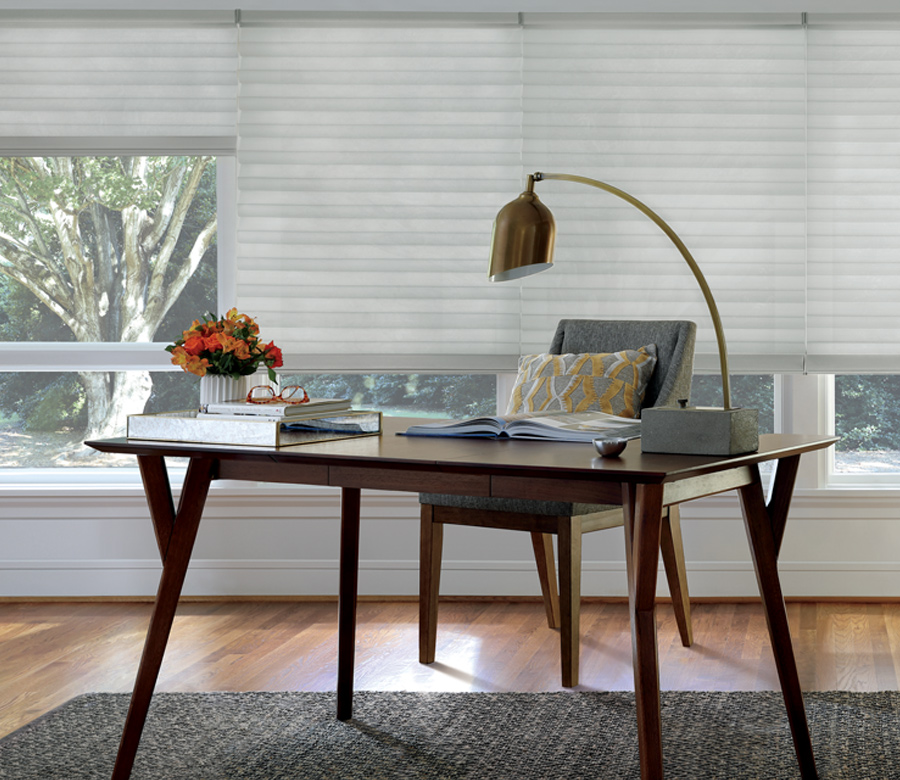 solera soft roman shades in home office Austin TX