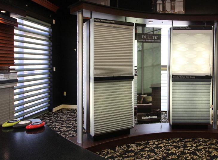 cellular shades on display window treatment showroom Austin TX