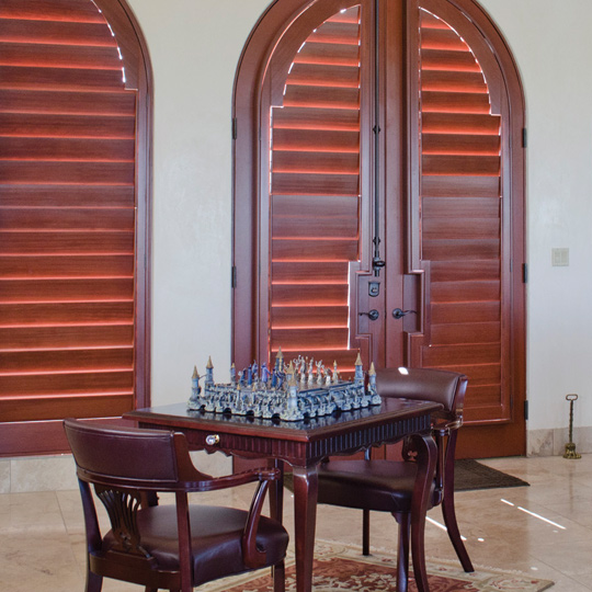 real wood plantation shutters for arched french doors Leander 78641