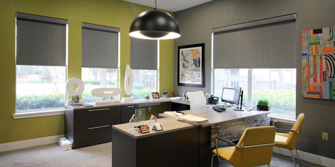 green office space grey roller shades Hunter Douglas Austin 78758