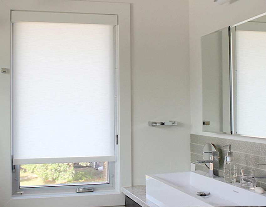bathroom white designer roller shades recent work done by Austin Window Fashions 78758