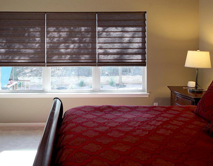 bedroom brown vignette modern roman shades recent work done by Austin Window Fashions 78758