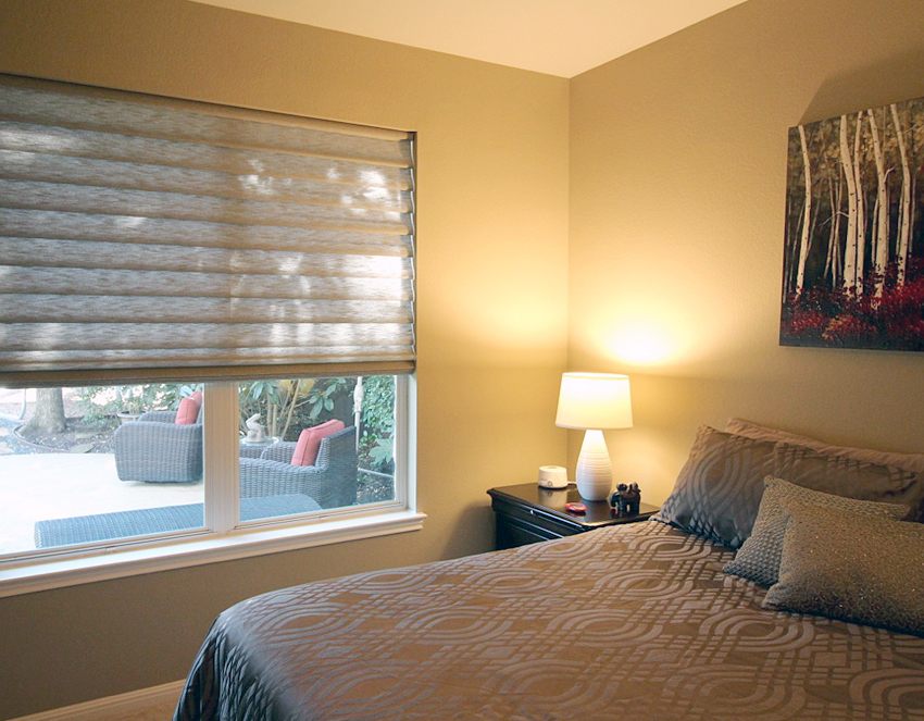 bedroom vignette modern roman shades recent work done by Austin Window Fashions 78758