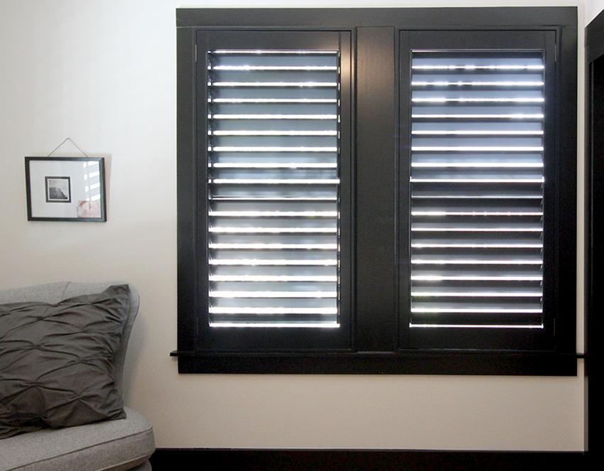 black plantation shutters recent work done by Austin Window Fashions 78758