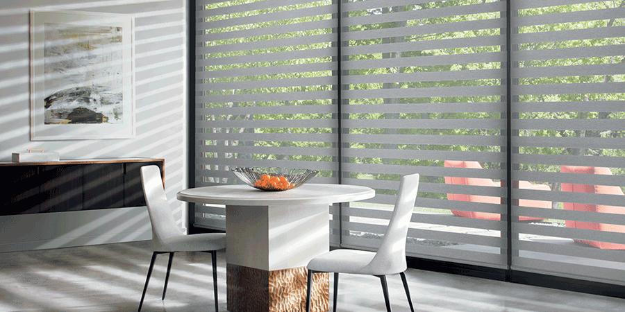 designer banded shades for floor to ceiling windows Hunter Douglas Austin 78758