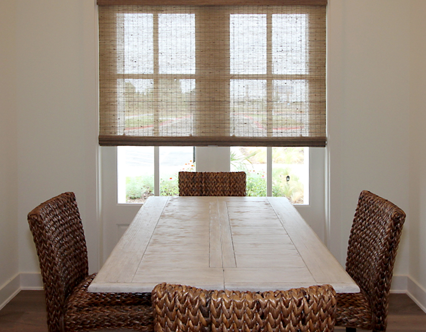 dining room provenance woven wood shades recent work done by Austin Window Fashions 78758