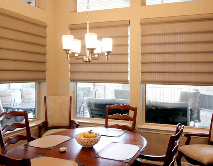 dining room vignette modern roman shades recent work done by Austin Window Fashions 78758