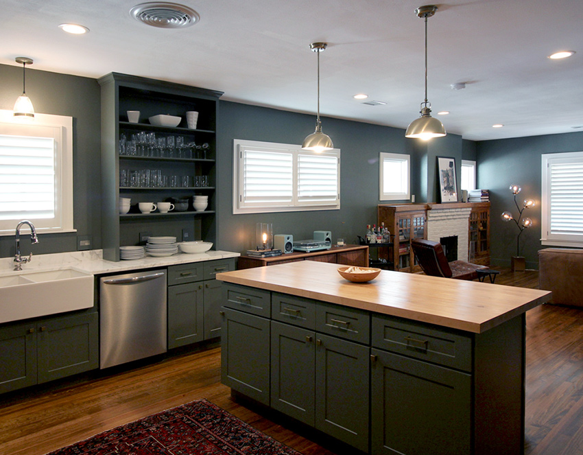 kitchen white plantation shutters recent work done by Austin Window Fashions 78758