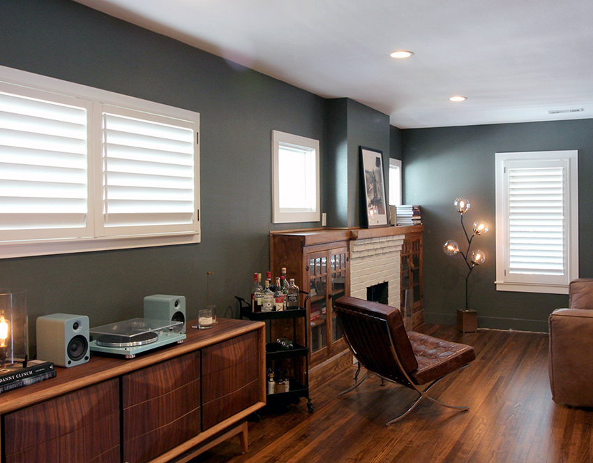 dining room white plantation shutters recent work done by Austin Window Fashions 78758