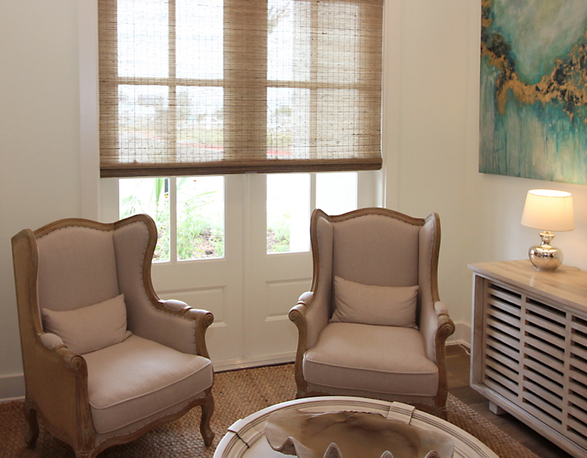sunroom provenance woven wood shades recent work done by Austin Window Fashions 78758