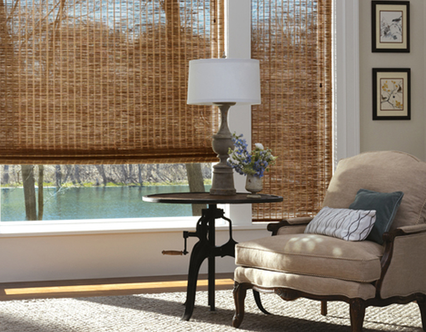 living room provenance woven wood shades recent work done by Austin Window Fashions 78758