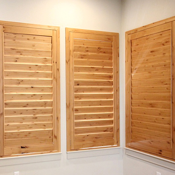 custom hardwood knotty alder shutters Austin TX
