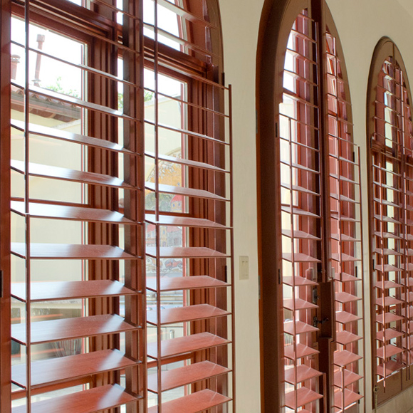 plantation shutters clear view through side tilt rods shutter options Austin TX