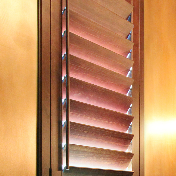 custom hardwood shutters with single tilt rod Austin TX