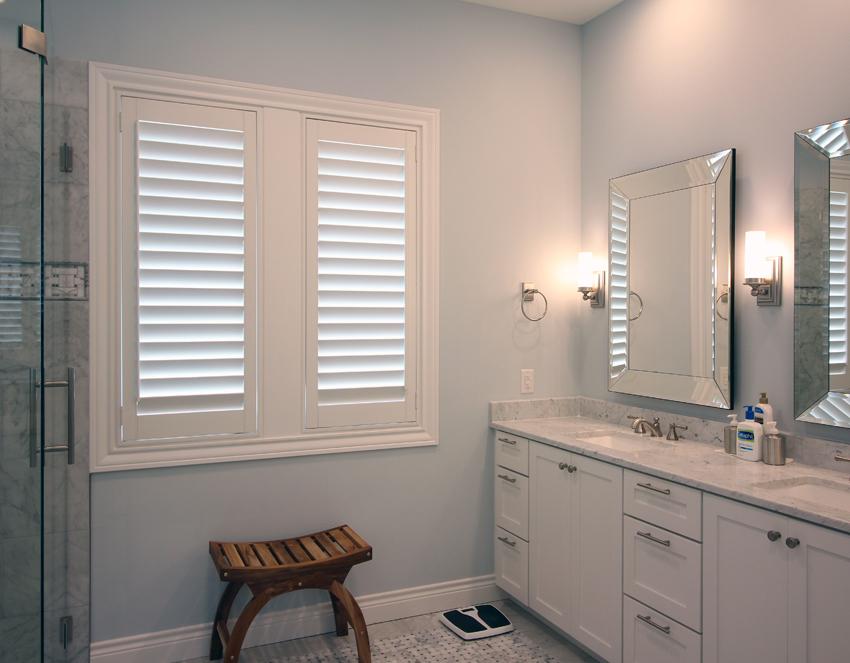 bathroom hinged panel white plantation shutters Austin 78758