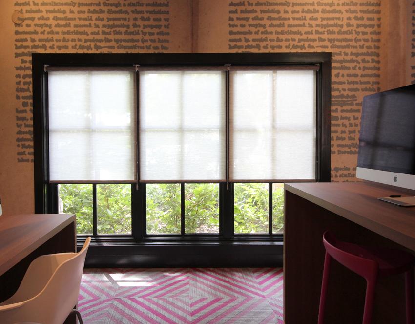 commercial office large window designer screen roller shades Hunter Douglas Austin 78758
