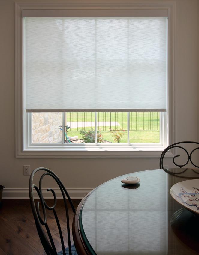 close up white Hunter Douglas dining room designer screen roller shades Cedar Park 78613