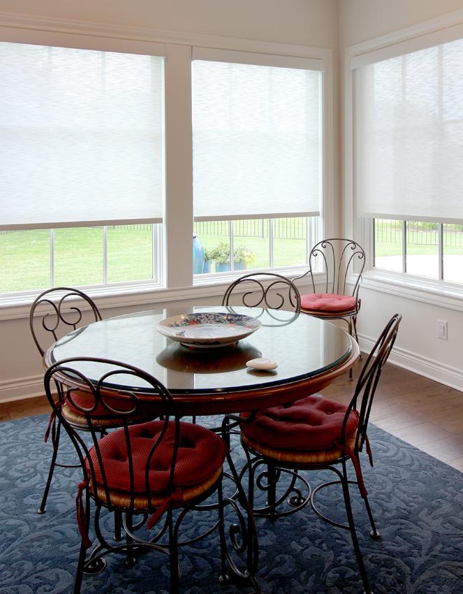 Hunter Douglas dining room corner of room designer screen roller shades Cedar Park 78613
