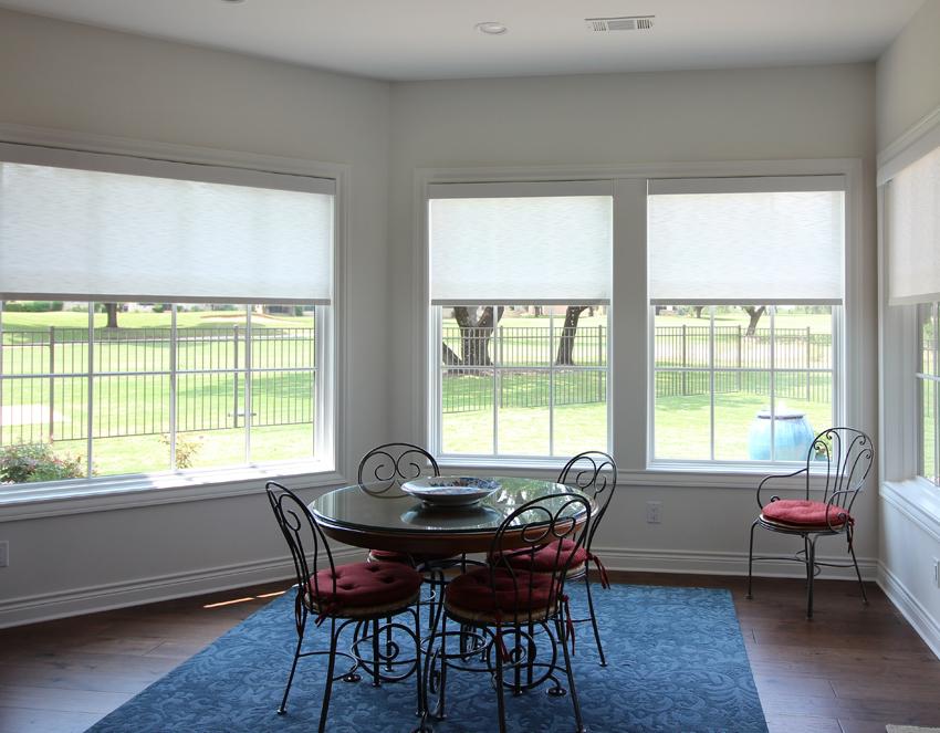 Hunter Douglas dining room designer screen roller shades Cedar Park 78613