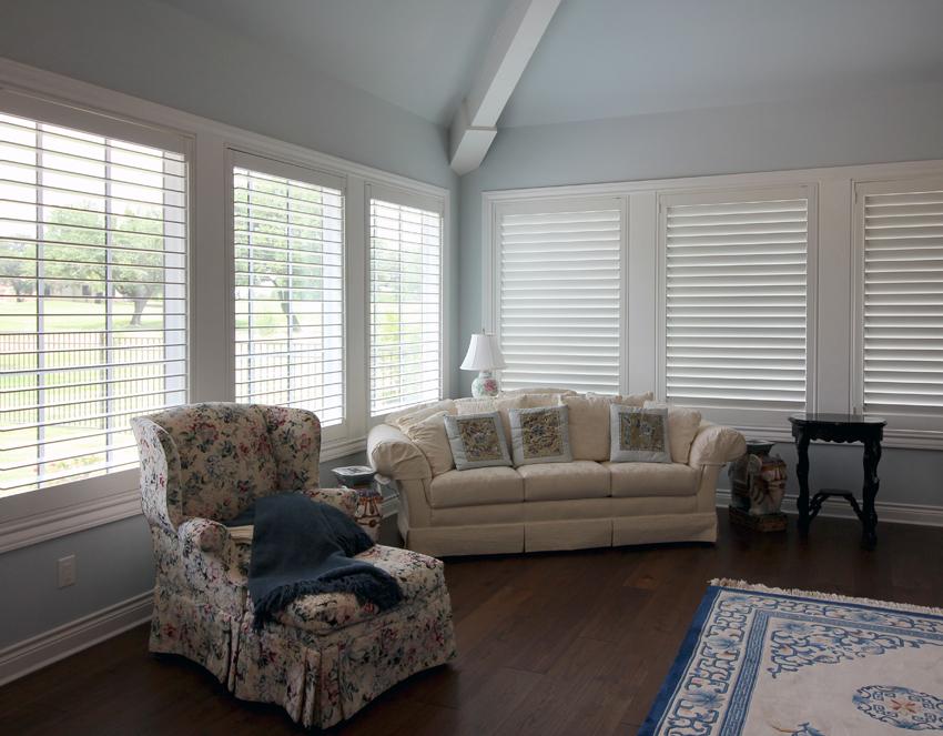 living room large white interior shutters Leander 78641