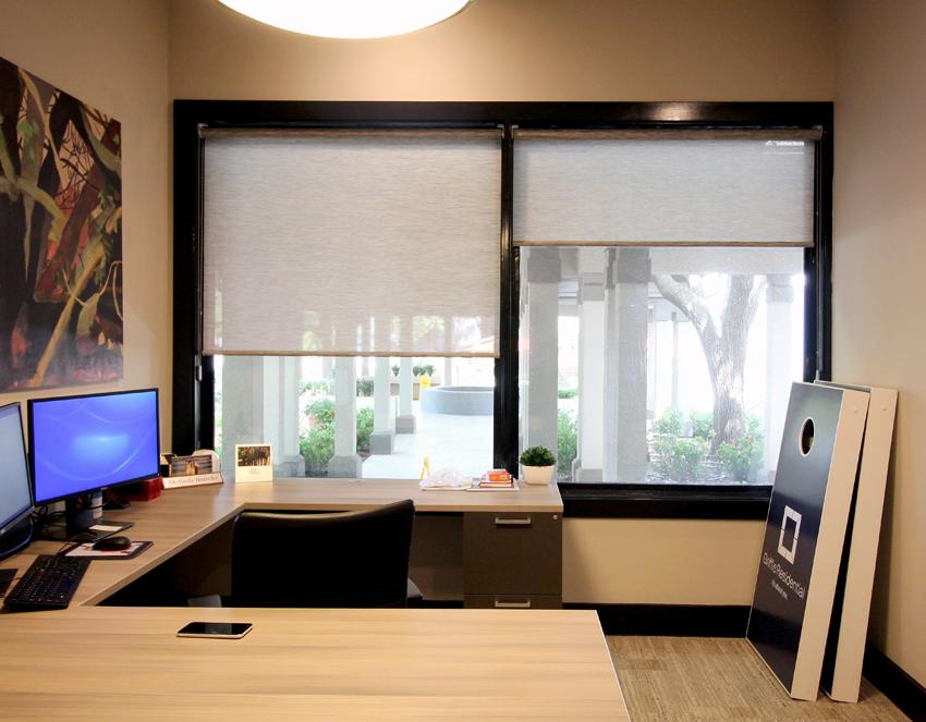 commercial office large window Hunter Douglas designer screen roller shades Austin 78758